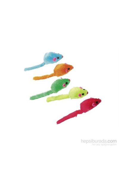 Karlie-Flamingo Renkli Peluş Fare Kedi Oyuncağı 5Cm 5Lı