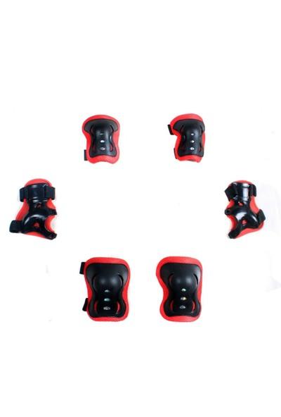Xbyc 961 Bsklt Dirseklik Dizlik Bileklik 6'Lü Set Lüx Siyah Kırmızı