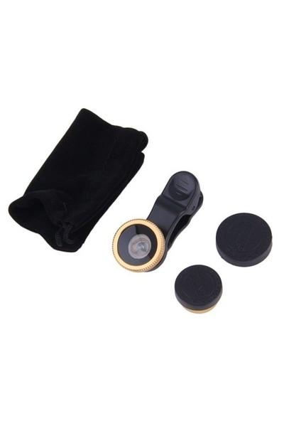 Lopard 3 in 1 Universal Klipsli Geniş Açı / Balık Gözü / Makro Lens Kiti