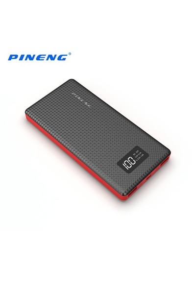 Pineng PN-963 10000 mAh Led Dijital Göstergeli Yüksek Hızlı Taşınabilir Şarj Cihazı - Siyah Kırmızı