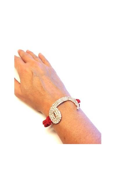 Betico Fashion Kırmızı Vav Bileklik