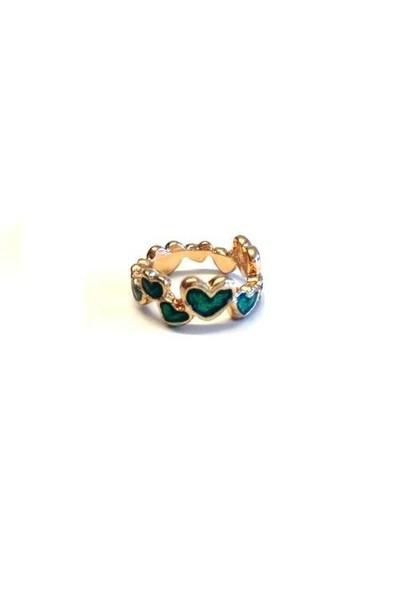 Betico Fashion Yeşil Kalpli Yüzük