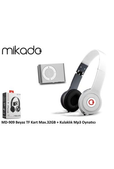 Mikado Md-909 Beyaz Kulaklık Mp3 Oynatıcı