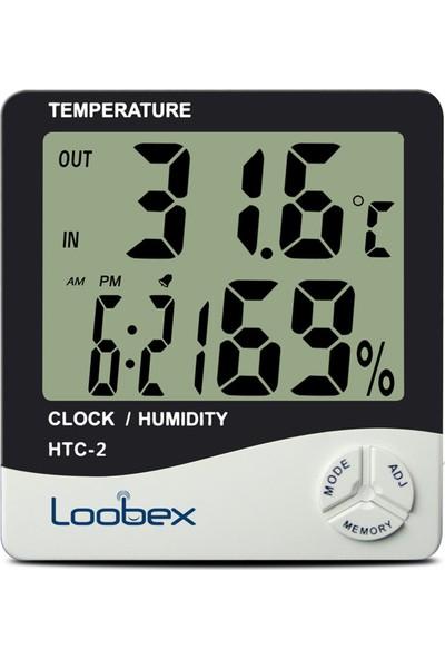 Loobex Htc-2 Dijital Nem ve Sıcaklık Ölçer - Higrometre-Termometre-Saat