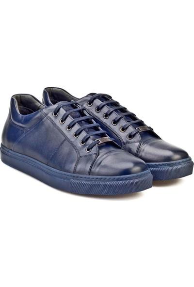 Cabani Bağcıklı Sneaker Erkek Ayakkabı Lacivert Antik Deri