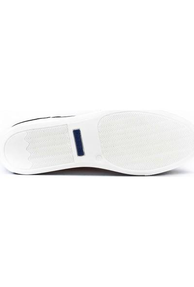 Cabani Çift Fermuarlı Bağcıklı Sneaker Erkek Ayakkabı Lacivert Antik Deri