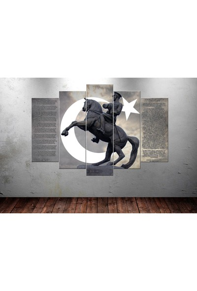 Caddeko Ata229 Atatürk At Üstünde İstiklal Marşı Gençliğe Hitabe Kanvas Tablo - 70 x 100 cm