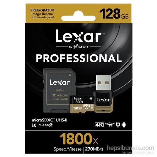 Lexar 128Gb Microsdxc 1800X Uhs-Iı 270Mb/Sn.Usb 3.0Reader & Sdhc Adapter (C10) U3 Hafıza Kartı
