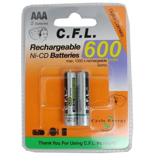 CFL Şarjlı 600 mAh AAA İnce Kalem pil