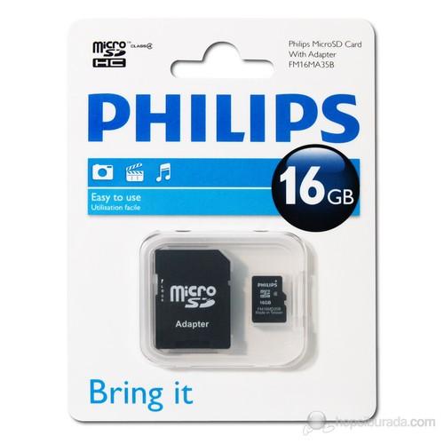 Philips 16GB Class 4 Micro SDHC Hafıza Kartı + Adaptör FM16MA35P