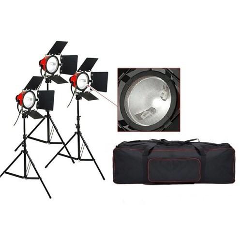 Fancier Fc-800A Kırmızı Kafa Sabit Video Işık 3'Lü Set (Dimmerli)