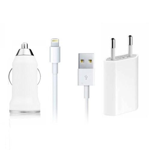 Microsonic 8Pin iPad Mini/iPad 4/iPod 3in1 (Araç+Priz+Data Kablosu) Şarj Seti (IOS7 Uyumlu)
