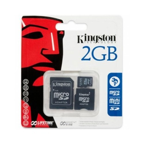 Kingston 2 GB Micro Secure Digital Hafıza Kartı + 2 Adaptör (SD Mini Ve SD) SDC/2GB-2ADP