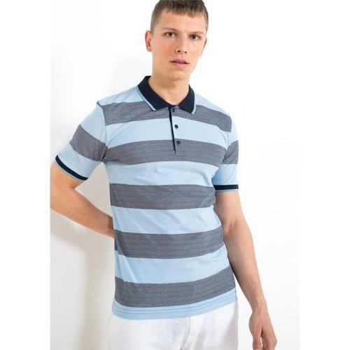 Adze Lacivert-Açık Mavi Erkek Polo Yaka Tişört