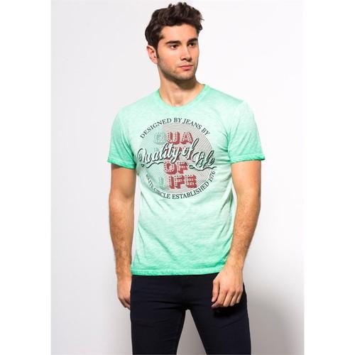 Adze Yeşil Erkek Bisiklet Yaka Flamlı Tişört