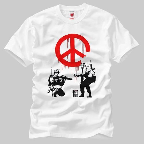 Crazy Banksy Wall Peace Erkek T-Shirt