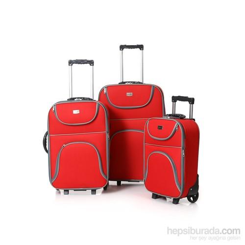 HB 3'lü Kırmızı Kumaş Valiz Seti