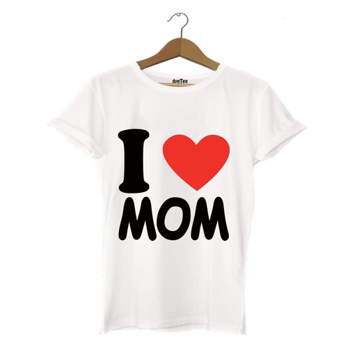 Dyetee I Love Mom Erkek T-Shirt