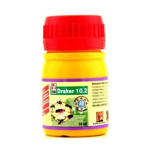 Draker 10.2 Kene Karınca Pire Hamamböceği Sinek İlacı 50Ml