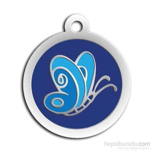 Dalis Pet Tag - Mineli Seri Kelebek Desenli Künye (Mavi) (İsimlik)