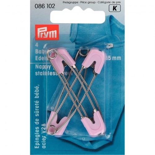 Prym 4 Adet Pembe Başlıklı Çelik Çengelli Bebek İğnesi - 086102