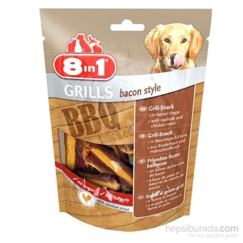8İn1 Grills Bacon Style Tavuk Füme Barbekü Çeşnili Köpek Ödülü 80Gr