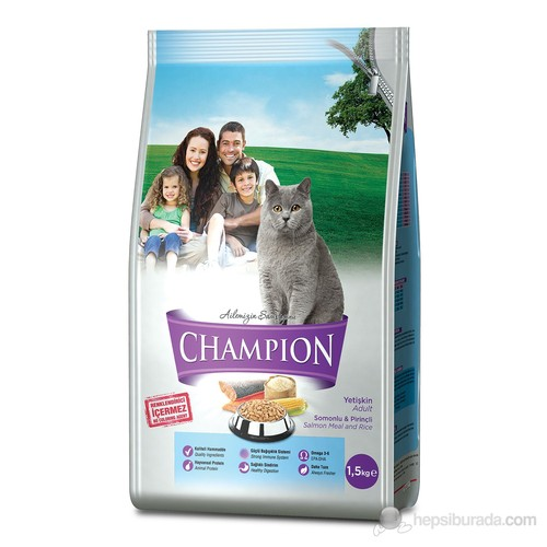 Champion Somonlu ve Pirinçli Yetişkin Kedi Maması 1,5 Kg FD*