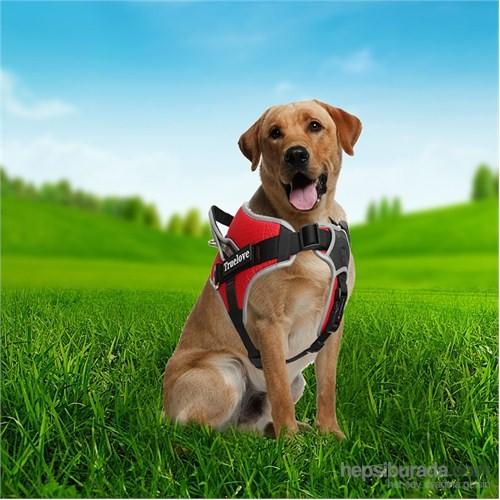 Outdoor Tutacaklı Yansıtıcılı Köpek Göğüs Tasması M Kırmızı