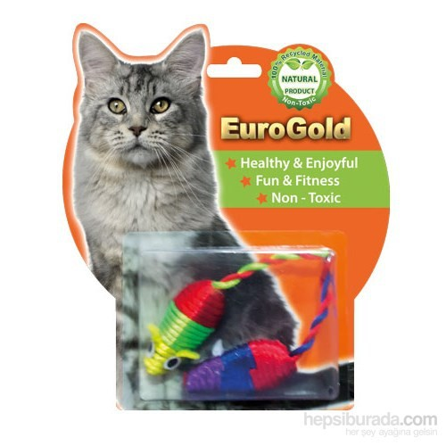 Eurogold Çok Renkli Parlak Fare 2'Li Kedi Oyuncağı