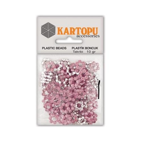 Kartopu Açık Pembe Çiçek Süslü Taş - Et7