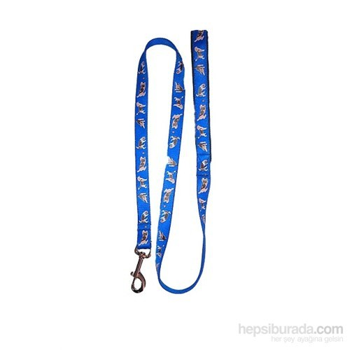 Pet Style Desenli Köpek Gezdirme Tasması Mavi 25 Mm X 120 Cm
