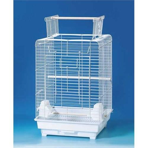 Qhpet Papağan Kafesi Açılır Çatılı Beyaz 40,5x40,5x59,5cm