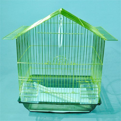 Qhpet Pirinç Telli Üçgen Çatılı Kuş Kafesi 34,5X26x44 (6)