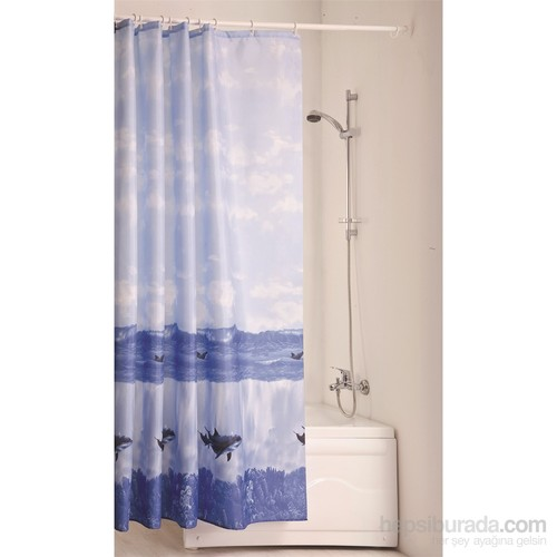 Doğuş Polyester Banyo Perdesi İkili-Deniz