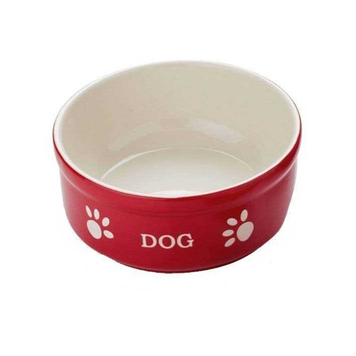 Nobby Dog Seramik Mama Kabı Kırmızı/Bej 15.5Cm 68769