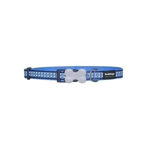 Reddingo Fosforlu Kemik Desenli Mavi Köpek Boyun Tasması 15 Mm