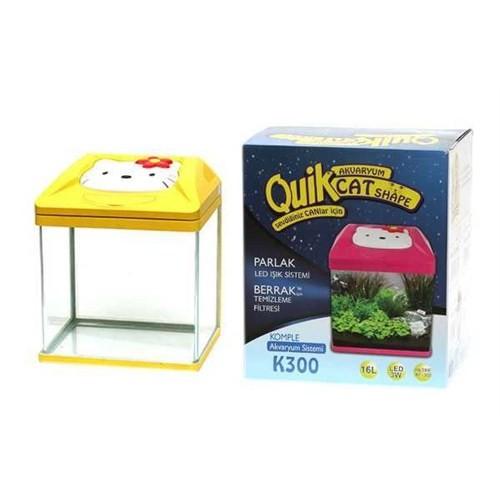 Quik K-300 Kedi Şekilli Akvaryum Sarı 30 Cm X 23,5 Cm X 34,5 Cm