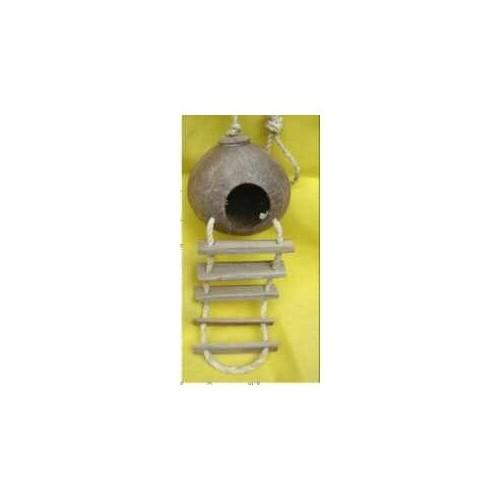 Loofah Merdivenli Ahşap Kuş Yuvası (17 X 30 Cm)