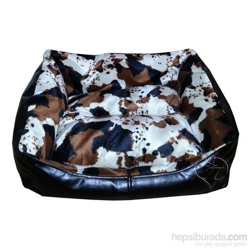 Pet Pretty Deri Köpek Yatağı Alacalı Kahverengi Desenli No:2 65 X 50 X 30 Cm