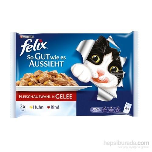 Felix Yetişkin Kediler İçin Tavuklu Ve Sığır Etli Yaş Kedi Maması Pouch (4 Adet) 4 X 100 Gr