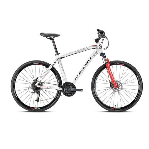 "Kron Tx 500 28 Jant City 20"" 27 Vites Fren Beyaz - Gri - Kırmızı Şehir Bisikleti"