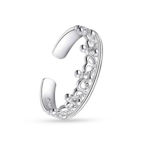 Betico Fashion Gümüş Gümüş Taç Ayarlanabilir Yüzük
