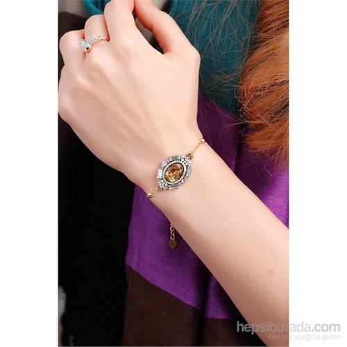 Morvizyon Sarı Kaplama Metal Zincir Üzeri Sarı Ve Kristal Taşlı Bayan Bileklik
