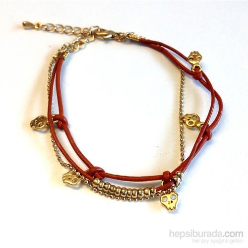 Betico Fashion Kırmızı Kurukafalı Bileklik