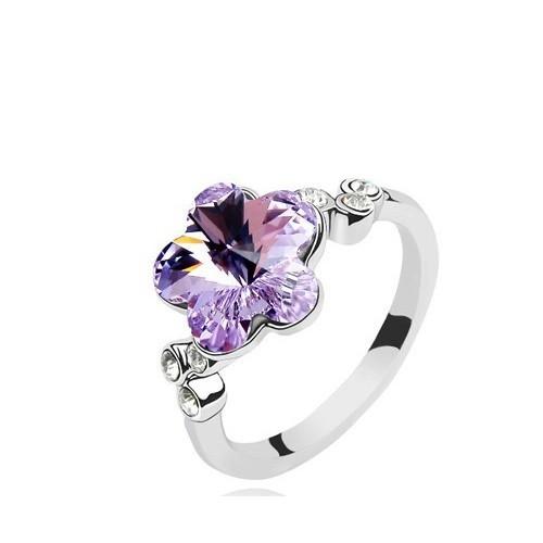 Betico Fashion Lila Çiçek Yüzük