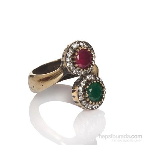 Bıggbıjoux Barkıel Renklı Taş Yüzük-Kırmızı Yeşil Renkli