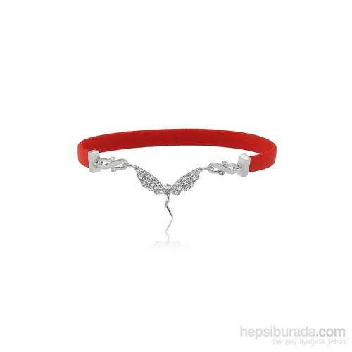 Olivin Accesories Kırmızı Kauçuklu Melek Gümüş Bileklik 431995