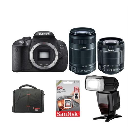 Canon Eos 700D + 18-55 + 55-250 Lens + Ttl Flash + Hafıza Kartı + Çanta