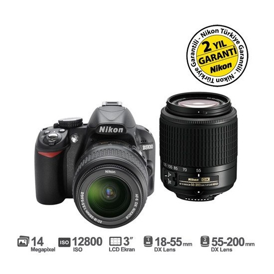 "Nikon D3100 18-55mm DX + 55-200mm DX Kit 14.2 MP 3"" LCD Dijital SLR Fotoğraf Makinesi"