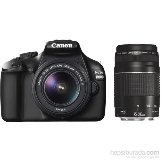 Canon Eos 1100D 18-55mm + EF 75-300mm SLR Dijital Fotoğraf Makinesi
